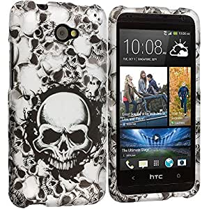 Accessory Planet(TM) Black White Skulls 2D Hard Snap-On Design Rubberized Case Cover Accessory for HTC Desire 601 Zara