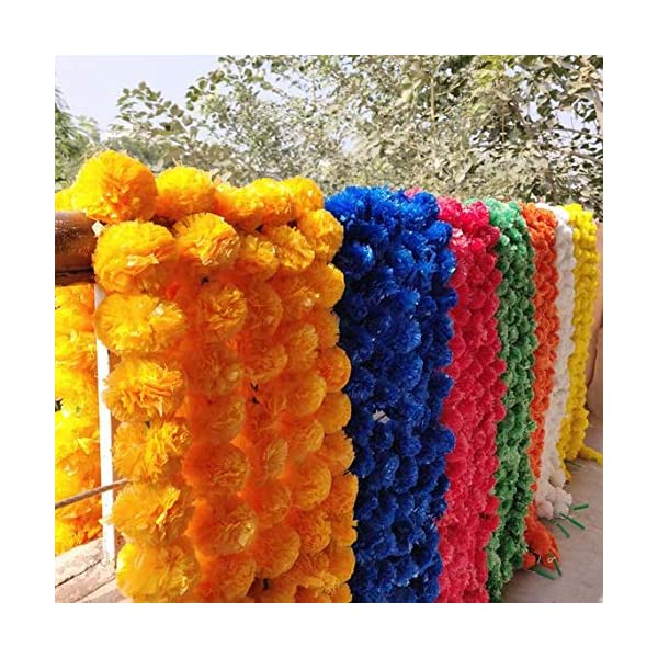 25 Pcs Lot Fresh Like Real Look Artificial Flower Strings For Christmas Decorations Fiber Marigold Outdoor Indian Wedding Home Decorations