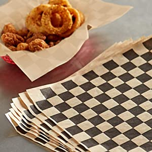 Dry Waxed Deli Paper Sheets - Paper Liners for Plastic Food Basket 100 Pack in Kraft Black Checkers
