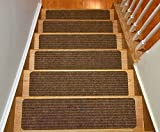 installing carpet on stairs Stair Treads Collection Set of 15 Indoor Skid Slip Resistant Brown Carpet Stair Tread Treads (8 inch x 30 inch) (Brown, Set of 15)