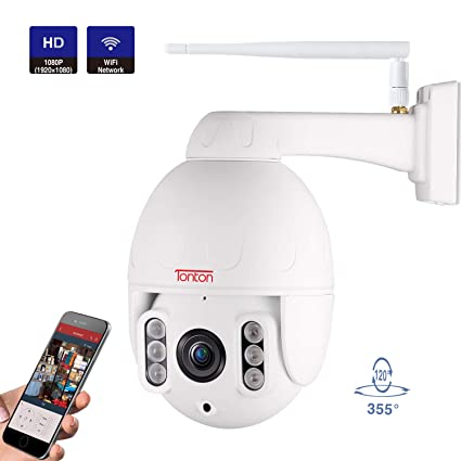 【Two-Way Audio】Tonton Full HD 1080P PTZ IP Dome Camera ONVIF 5X Optical  Zoom,2 0 MP Waterproof Outdoor WiFi Security Camera with Motion Detection,