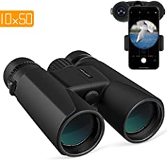APEMAN 10X50 HD Binoculars for Adults with Low Light Night Vision,Compact Binoculars for Bird Watching, Hunting, Sports Events,Travelling, Adventure and Concerts,FMC Lens with Smart Phone Adapter