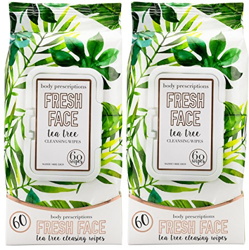 Body Prescriptions - 2 Pack (60 Count Each) Fresh Face Tea Tree Facial Cleansing Wipes (Towelettes Desert Essence)