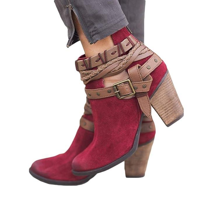 10f58444214a SuperSU Mode Frauen Herbst Schuhe Party Hochzeit Sexy Niet Schnalle Heel  Stiefel Ankle Boot Retro Stiefel