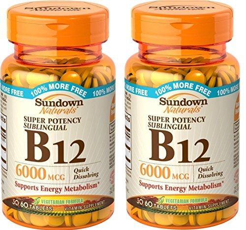 Sundown Naturals Sublingual B-12 6000 Mcg Tablets, 120 Count (2 X 60 Count Bottles)