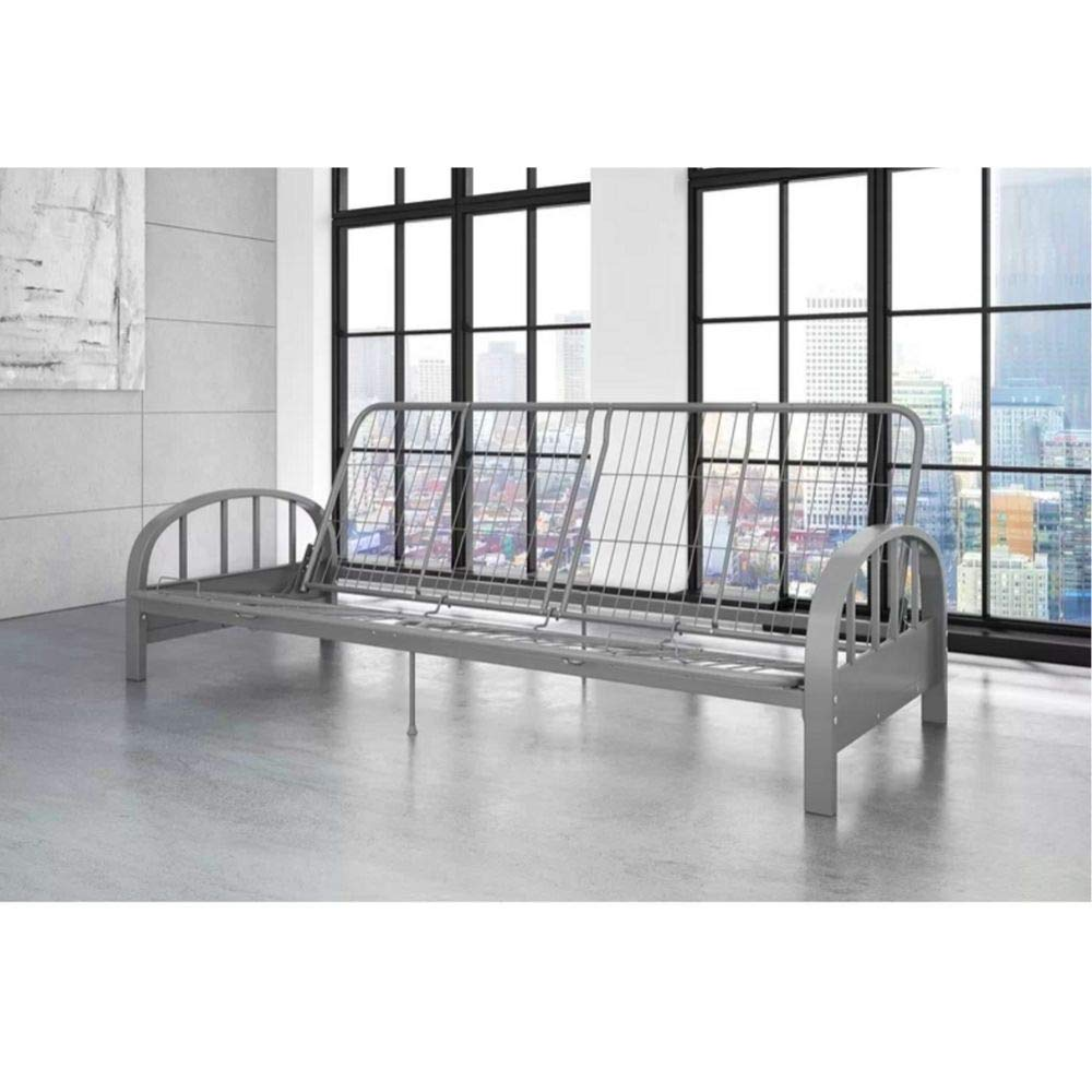 BS Metal Daybed Frame Full 3-in-1 Sofa Lounger Contemporary Metal Adjustable Futon Sleeper Frame with Arms Guest Home Living Room Bedroom Kids Bedroom Furniture Dorm Silver & eBook by BADA Shop by BS