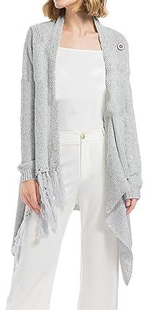 699bf6725a6 Blyent Women s Tassel Irregular Plus Size Knitted Button Jacket Coat  Cardigan at Amazon Women s Clothing store