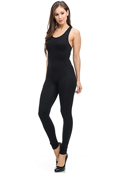 59b8263e40f7 World of Leggings Women s Premium Basic Nylon Spandex Jumpsuit - Black