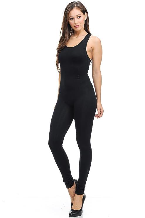 7db1784280 Amazon.com  World of Leggings Women s Premium Basic Nylon Spandex Jumpsuit  - Black  Clothing