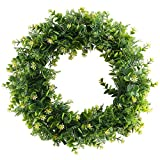 "Nahuaa 17"" Artificial Eucalyptus Front Door Wreath with Yellow Flowers Spring Farmhouse Garland Home Office Housewarming Gift Greenery Decor"