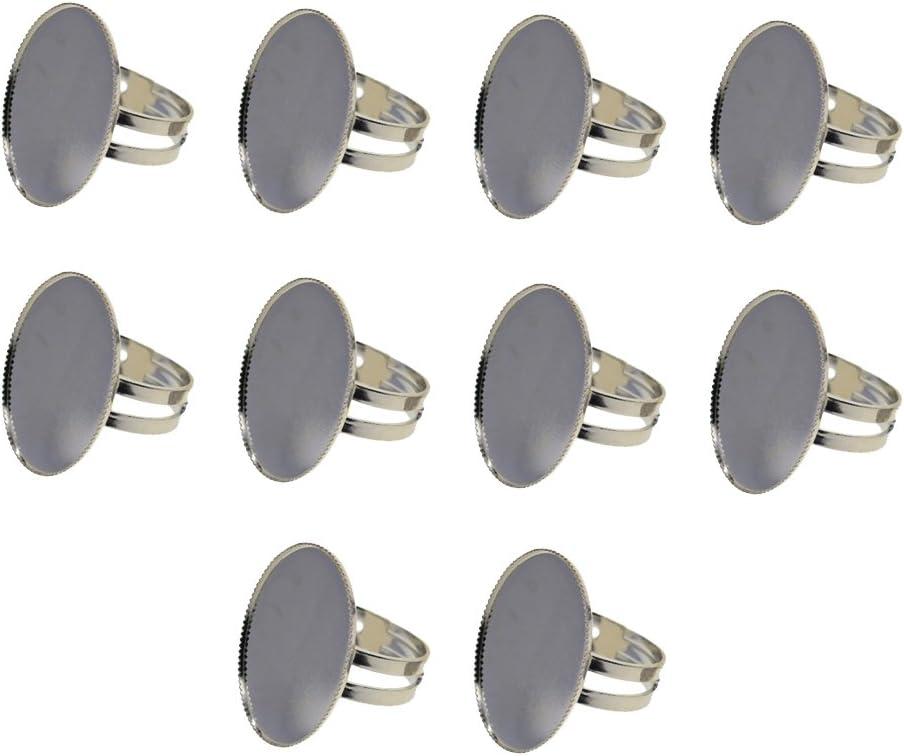 26 x 21 x 19 mm sharprepublic 10 St/ücke Einstellbare Ring Basis Cabochon Oval L/ünette Einstellungen Rohlinge DIY Entdeckungen Silber