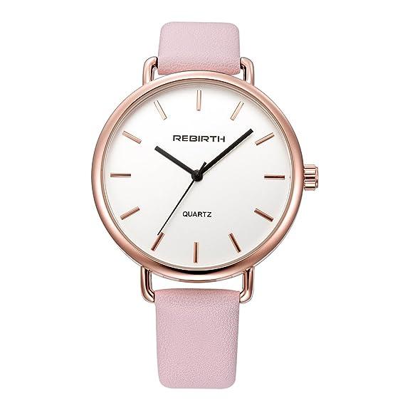 de mujeres caja de oro rosa relojes de cuarzo con el reloj de esfera blanca informal