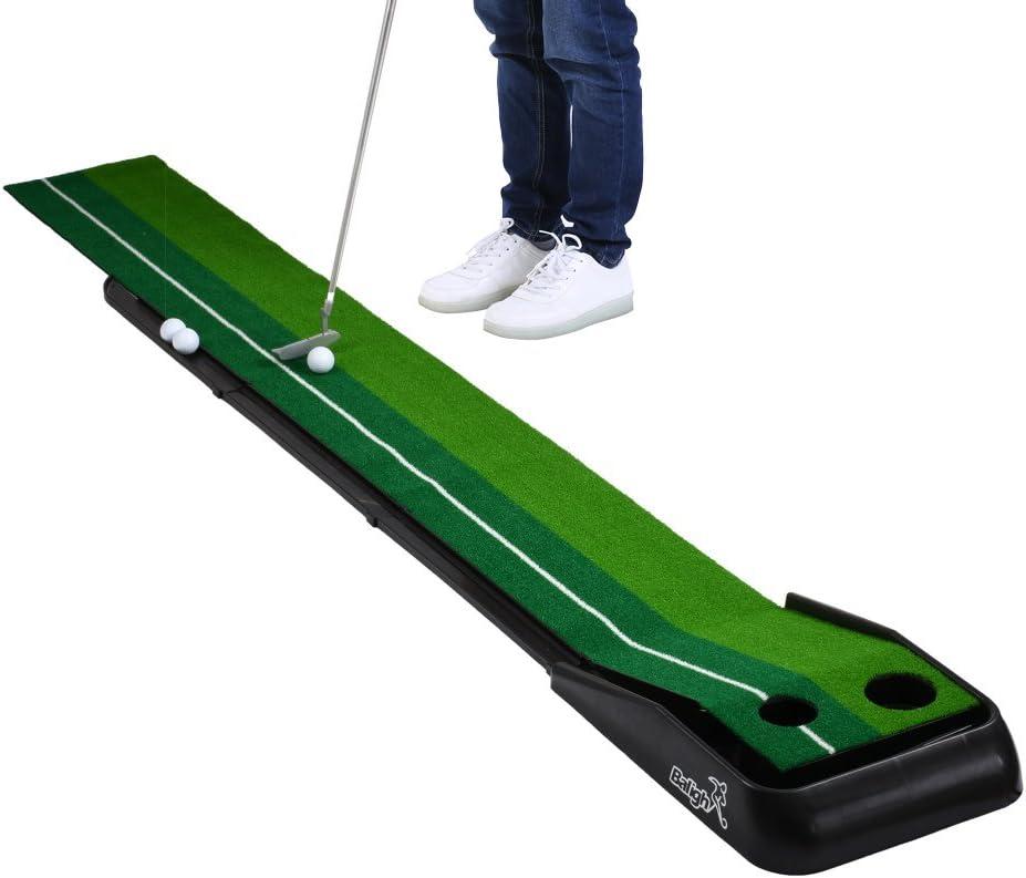 Balight Intérieur ou extérieur de Golf Retour Automatique Putting Trainer Tapis Dual-Track Proedge Intérieur Putting Green–Extra Long 10,5Tapis de Pieds–2Trous/2Tailles