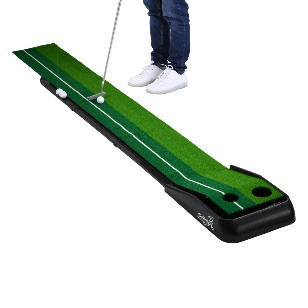 Balight Putting Green Indoor Outdoor Golf Auto Return with 3 Ball and 1 Putter Putting Trainer Mat Dual-Track ProEdge - Extra Long 10.5 Feet Mat - 2 Holes