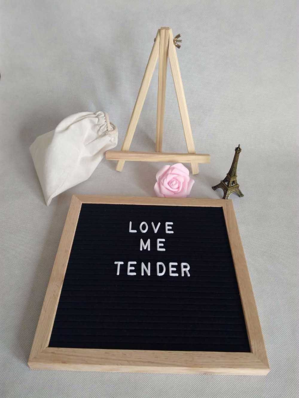 Black Felt Letter Board Message Board 10 by 10 with 290 White Changeable Letters and 150 Symbols Made from Recyclable Plastic Oak Frame Large Pieces Hanging Sign with Stand and Canvas Bag