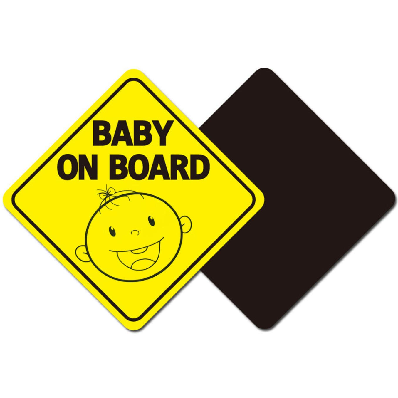 None H01 guangxichuangshengxinfu Significant Baby On Board Sign Magnet for Car Magnetic and Reflective Safety Cute Design 2 Pack by