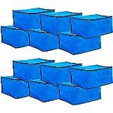 Amazon Brand - Solimo 12 Piece Non Woven Fabric Saree Cover Set, Large, Blue