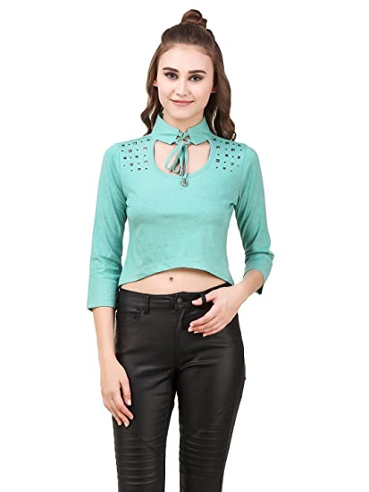 21f8865dc22f06 TEXCO Green Grunge Look Studs Embelished Tye-Knot Choker Neck Women Crop  Tops