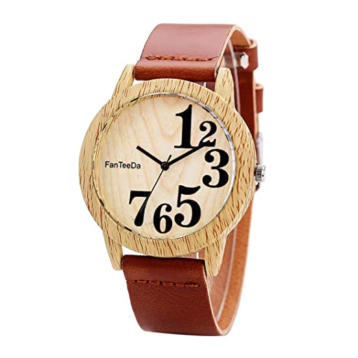 Relojes de Mujer Reloj de Cuarzo Redondo de Madera Reloj para Mujer Relojes de Pulsera Uso