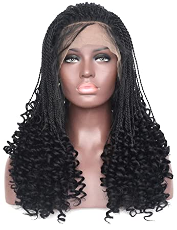 Amazon Com Bluple Micro Twist Braids With Curly End Lace Front Wig