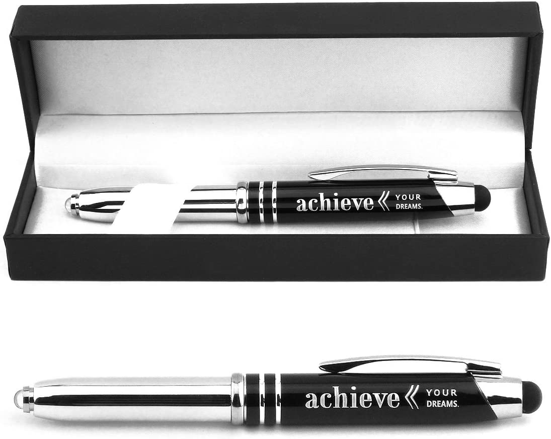 """""""Achieve Your Dreams"""" Engraved Gift Pen with LED Light and Stylus Tip - Inspirational Achievement Encouragement Business Gifts for Students and Professionals"""