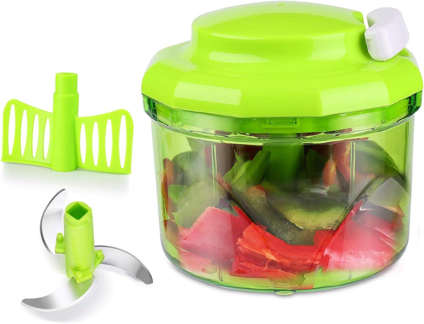 Flexzion Procesador de alimentos, Cortador manual de vegetales, Rebanador de frutas, Mezclador multiusos para cortar, mezclar y triturar, accesorios de cocina, utensilio de cocina: Amazon.es: Hogar