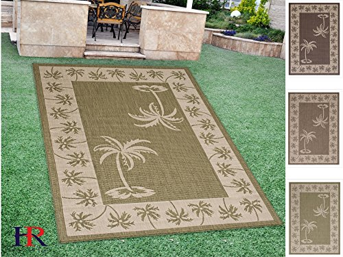 Handcraft Rugs Indoor/Outdoor area Rug with Palm Trees Design Oasis Accent Ivory Border and Sage Green Cabin Rugs (5 ft. by 7 ft.)
