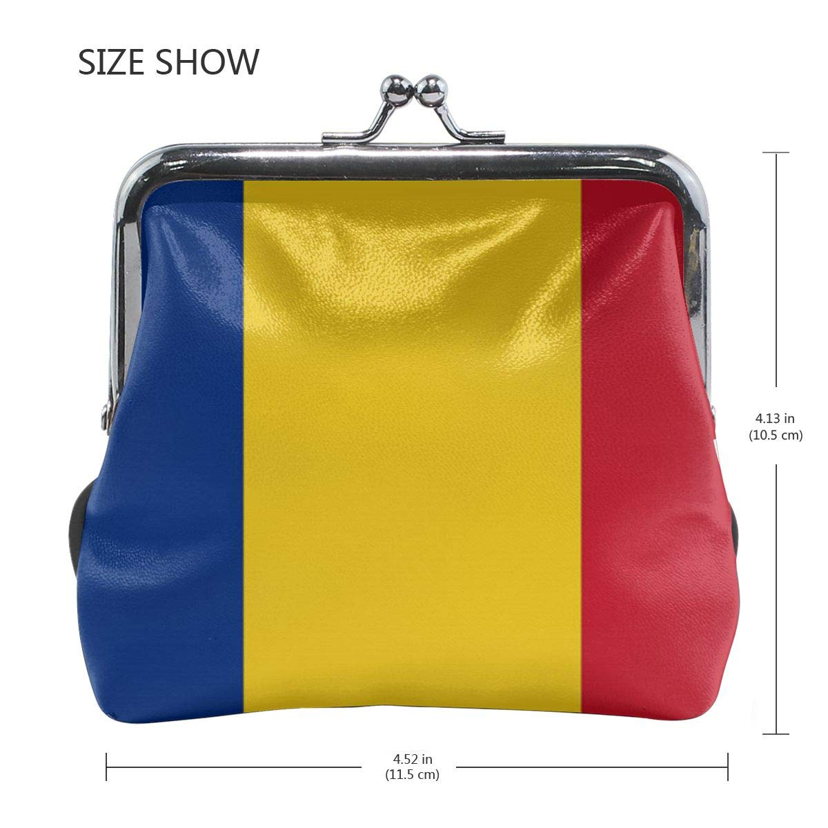 Eunice Jackson Womens Flag of Romania Flat Wallet Style Purse Leather Coin Handbag