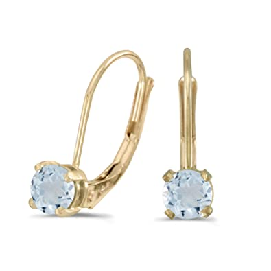 b1600da44 Image Unavailable. Image not available for. Color: 14k Yellow Gold Round  Aquamarine Lever-back Earrings