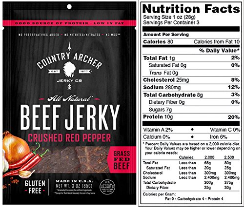 Country Archer Jerky Spicy Beef Jerky Variety Pack of 3 Sweet Jalapeno Crushed Red Pepper Sriracha Beef Jerky
