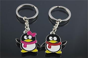 JOYRICE 1 XA couple keychain Fashion Metal Teng penguin Creative cartoon QQ couples keychains Key Ring for lover