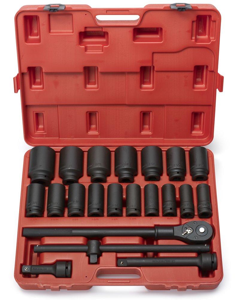 Neiko 02409A 3/4'' Drive Deep Impact Socket Set, 22 Piece   Includes Ratchet & Bar Drivers   SAE (7/8'' - 2'')   Cr-Mo Steel