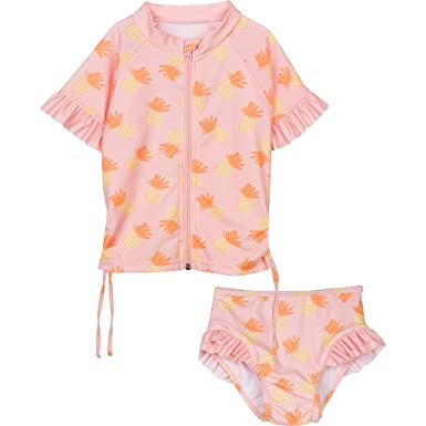 1f1ca5c166c83 Amazon.com: SwimZip Little Girl Zipper Short Sleeve Orange Rash Guard 2  Piece Swimsuit Set Sweet Pineapple: Clothing