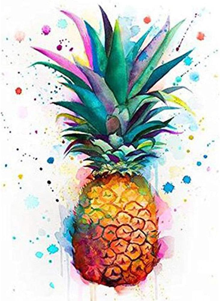 Vaorwne Pineapple Diamond Painting Full Drill 5D DIY Rhinestone Embroidery Kit 30x40Cm