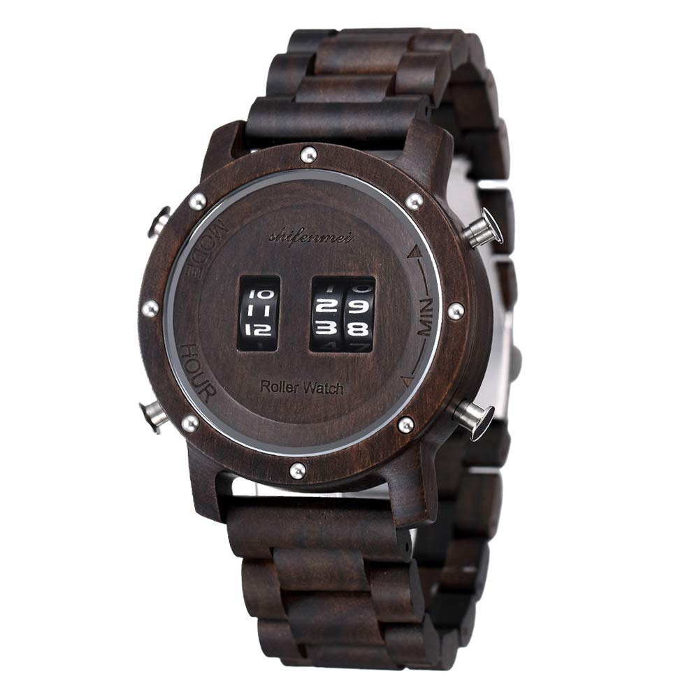 Drum Watches, shifenmei S5582 Minimalist Wood Watch Creative Roller Watches Wooden Watches for Men Women with Natural Gift Case