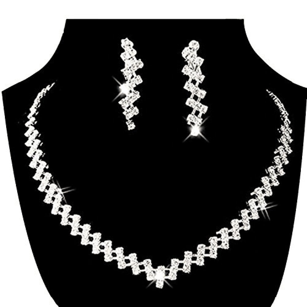 Beautiful Bead Glamorous Multi Rhinestones Inserted Wedding Necklace and Earrings Set for Brides Silver Color