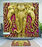 Amavam Bathroom 2-Piece Suit r Elephant Carved Gold Paint On Door Thai Temple Spirituality Statue Classic Image Magenta Golden Shower Curtain And Bath Rug Set, 79'' Wx71 H & 31'' Wx20 H