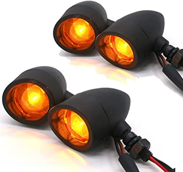 4x Universal 20LED Motorcycle Bullet Turn Signal Indicators Blinker Lights Amber