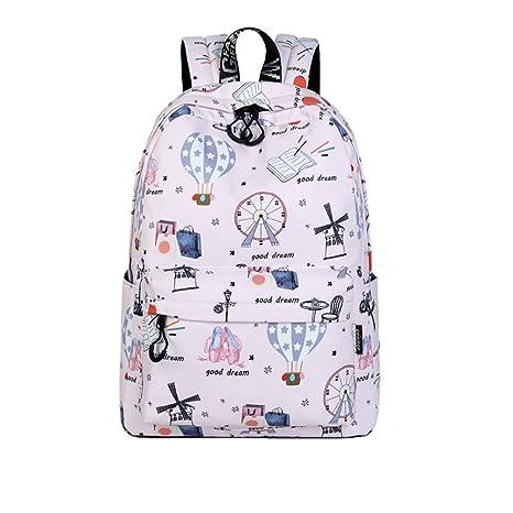 Casual de poliéster impermeable mujer mochilas lindo globo de aire caliente niñas impresión patrón College diariamente