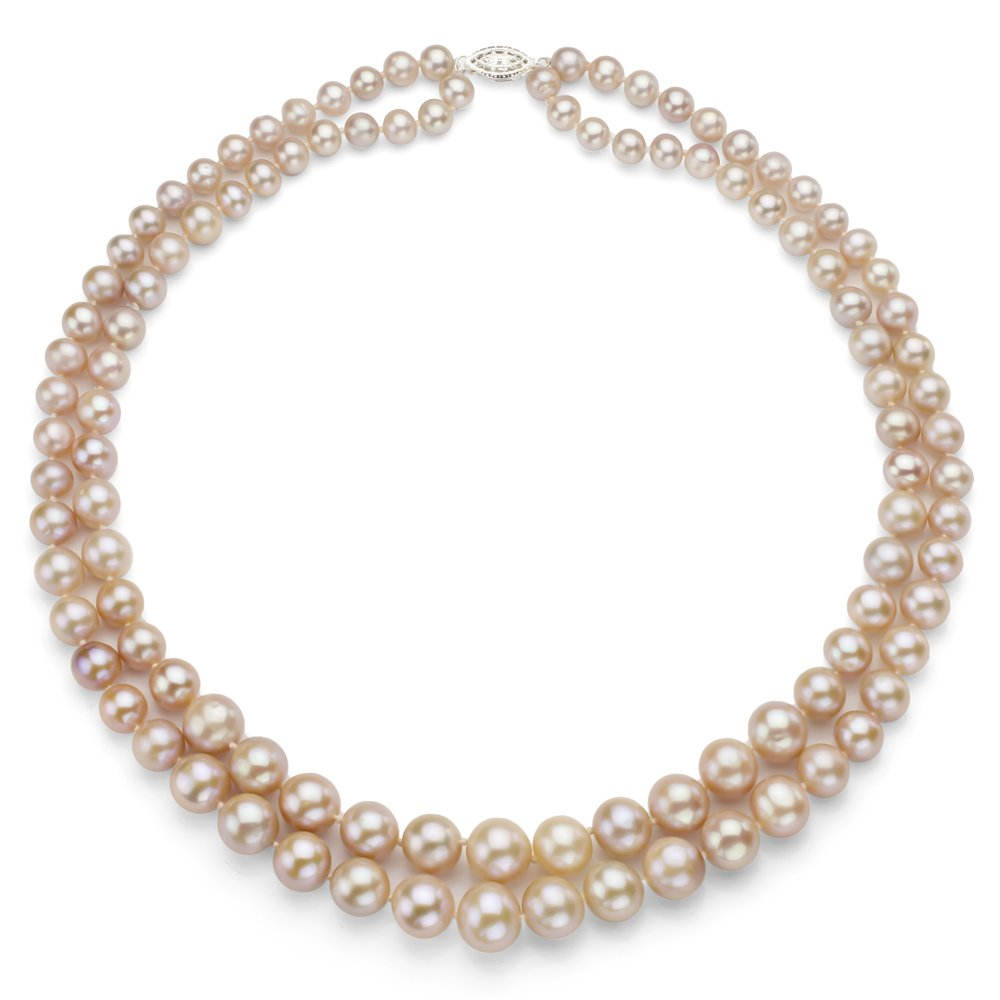 Sterling Silver Graduated 6-11mm Pink Freshwater Cultured Pearl 2-rows Necklace, 17''