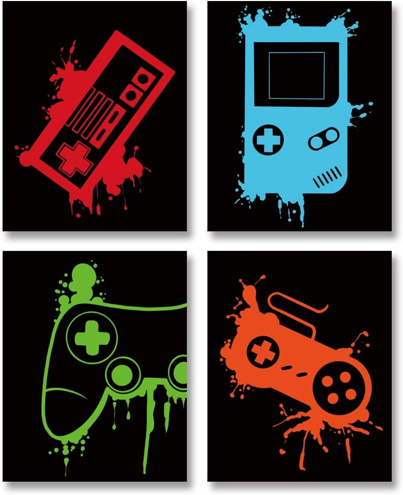 "Video Game Art Print-Colorful Gaming Themed Canvas Wall Art (8""x10""x4pieces ,Unframed)-Perfect for Kids Boy Bedroom Decoration"