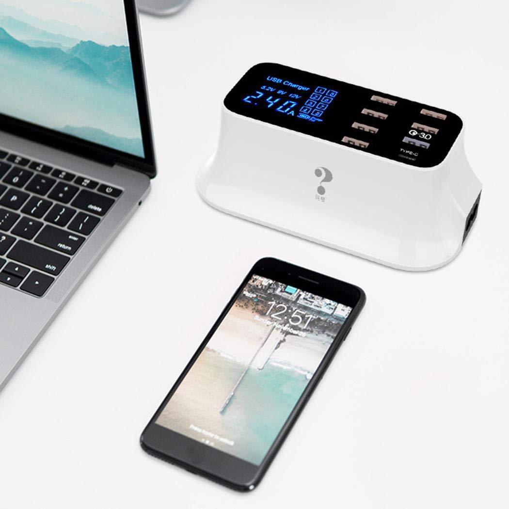 Max USB 8 150cm//59.1inch Desktop Charger - Plug Type: eu Pukido Smart USB Type C LED Display Mobile Phone 100-240V 50-60Hz 5V 2.4A