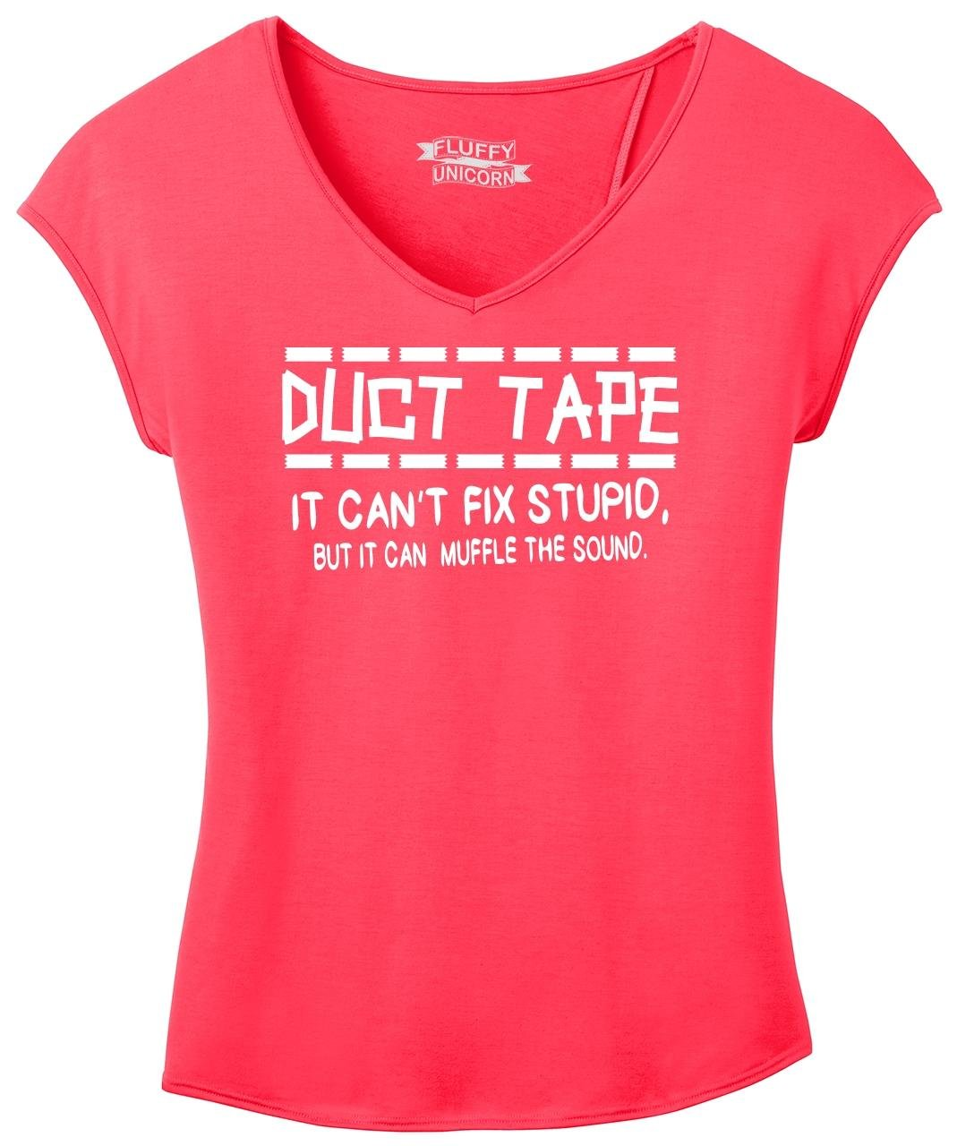 Ladies Drapey Cross-Back Tee Duct Tape Can't Fix Stupid Muffle Sound Hot Coral 4XL