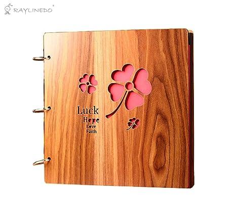 Álbum de fotos personalizable, de Raylinedo®, estilo archivador con tapas de madera de 40,6 ...