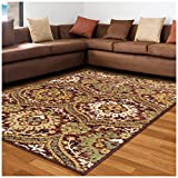 Superior Designer Augusta Collection Area Rug, 8mm Pile Height with Jute Backing, Beautiful Floral Scalloped Pattern, Anti-Static, Water-Repellent Rugs - Red, 5' x 8' Rug