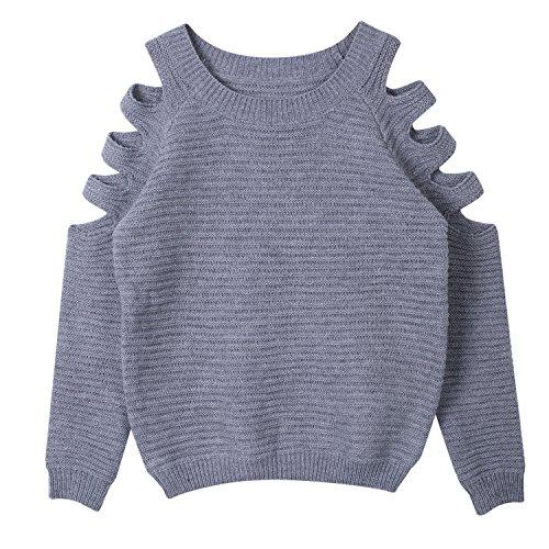 Minetom Damen Schulterfrei Langarm Crewneck Sweater Tops Hoodie Kurz Jumper Top Pullover Grau DE 40