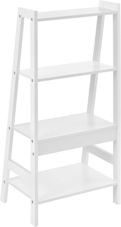 en.casa] Estantería Escalera - 90x43x32cm - Blanca - con 4 compartimientos de Almacenamiento: Amazon.es: Hogar