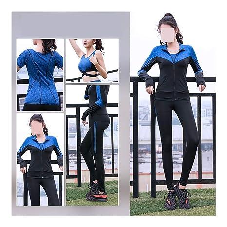 Conjuntos de yoga Las mujeres 4 PC sets capa + camiseta + ...