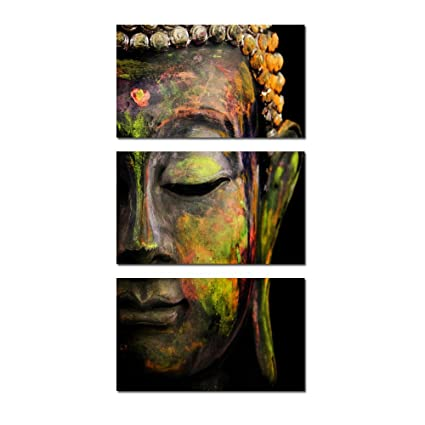 Kreative Arts Modern Buddha Head Portrait Painting Printed On Canvas  Religion Wall Art Triptych Canvas Painting
