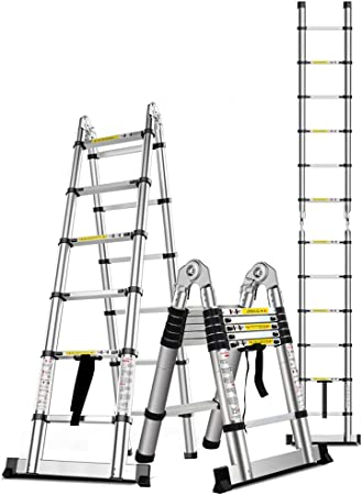 Folding ladder Escalera Plegable de Aluminio Escalera Plegable Multifuncional, 300 kg Escalera de Ingeniería de Construcción Plegable Retractable con Soporte Súper Carga: Amazon.es: Hogar
